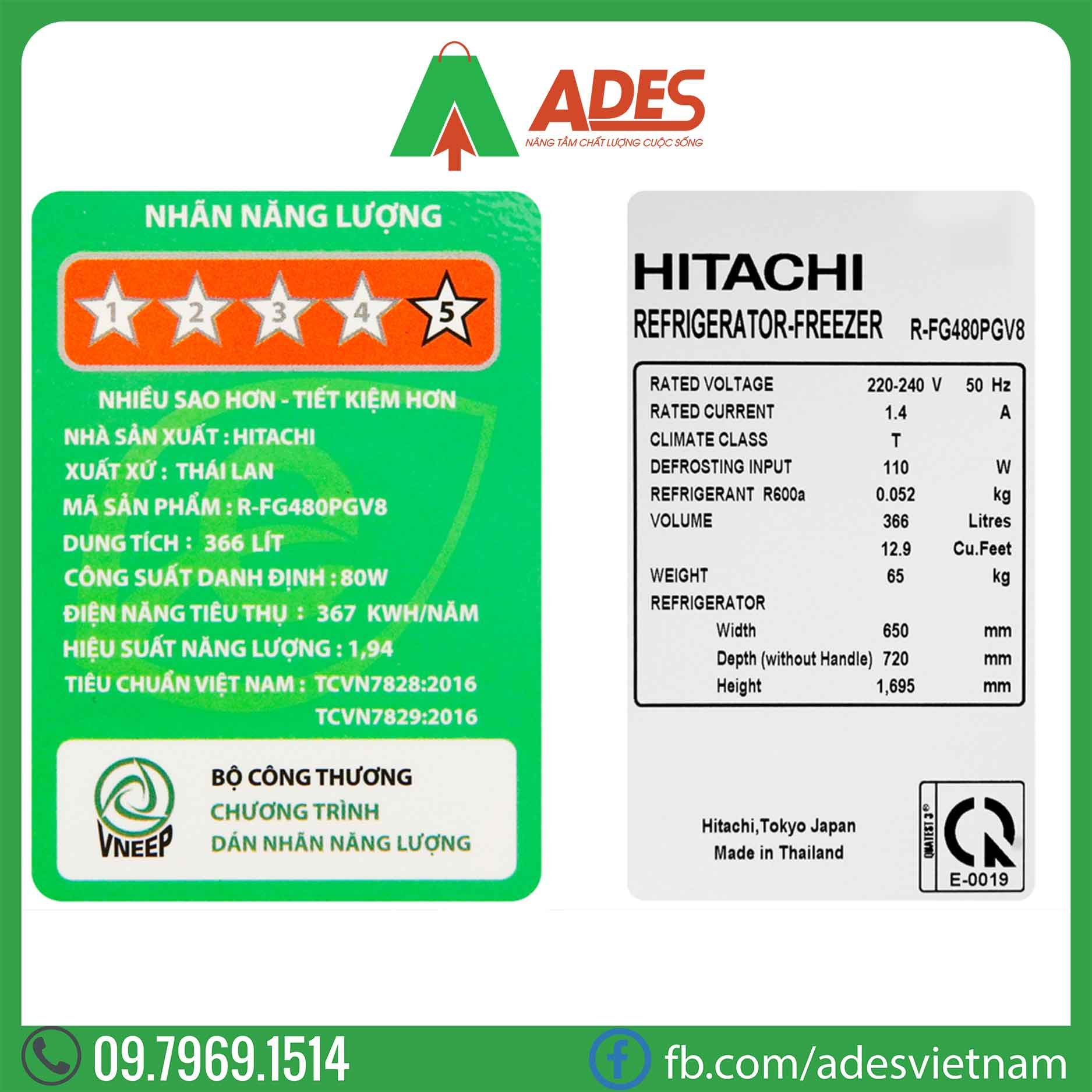 Tu lanh Hitachi Inverter R-FG480PGV8 GBK