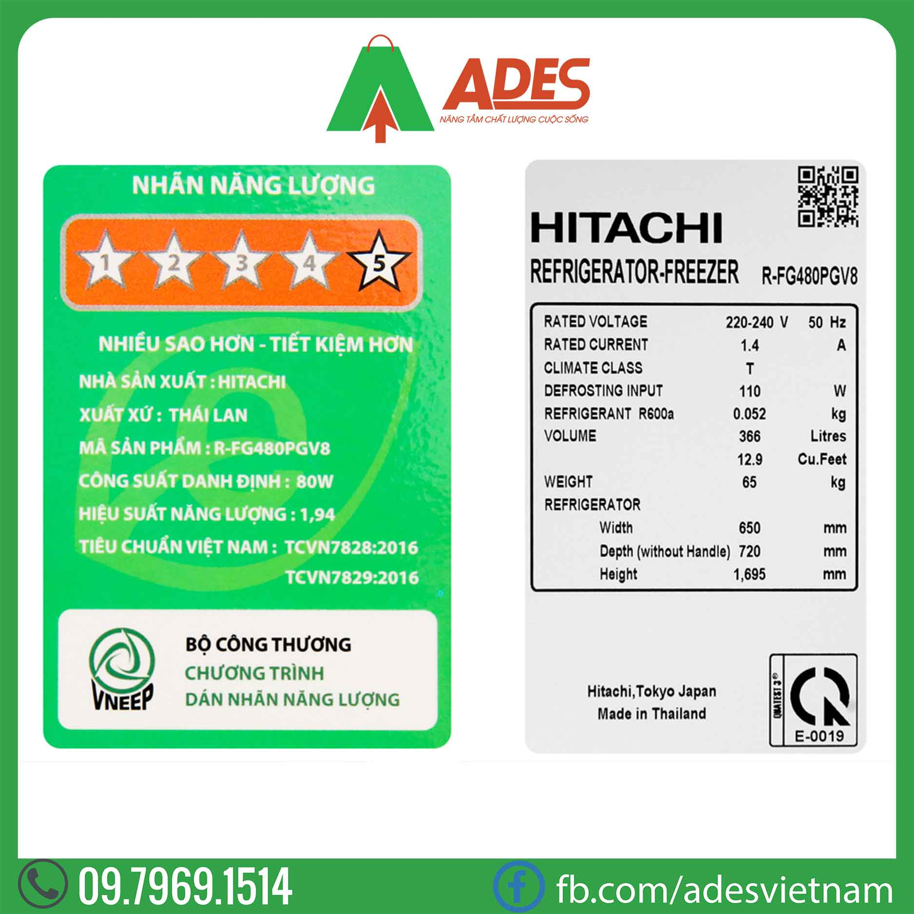 Tu lanh Hitachi Inverter R-FG480PGV8 GBW