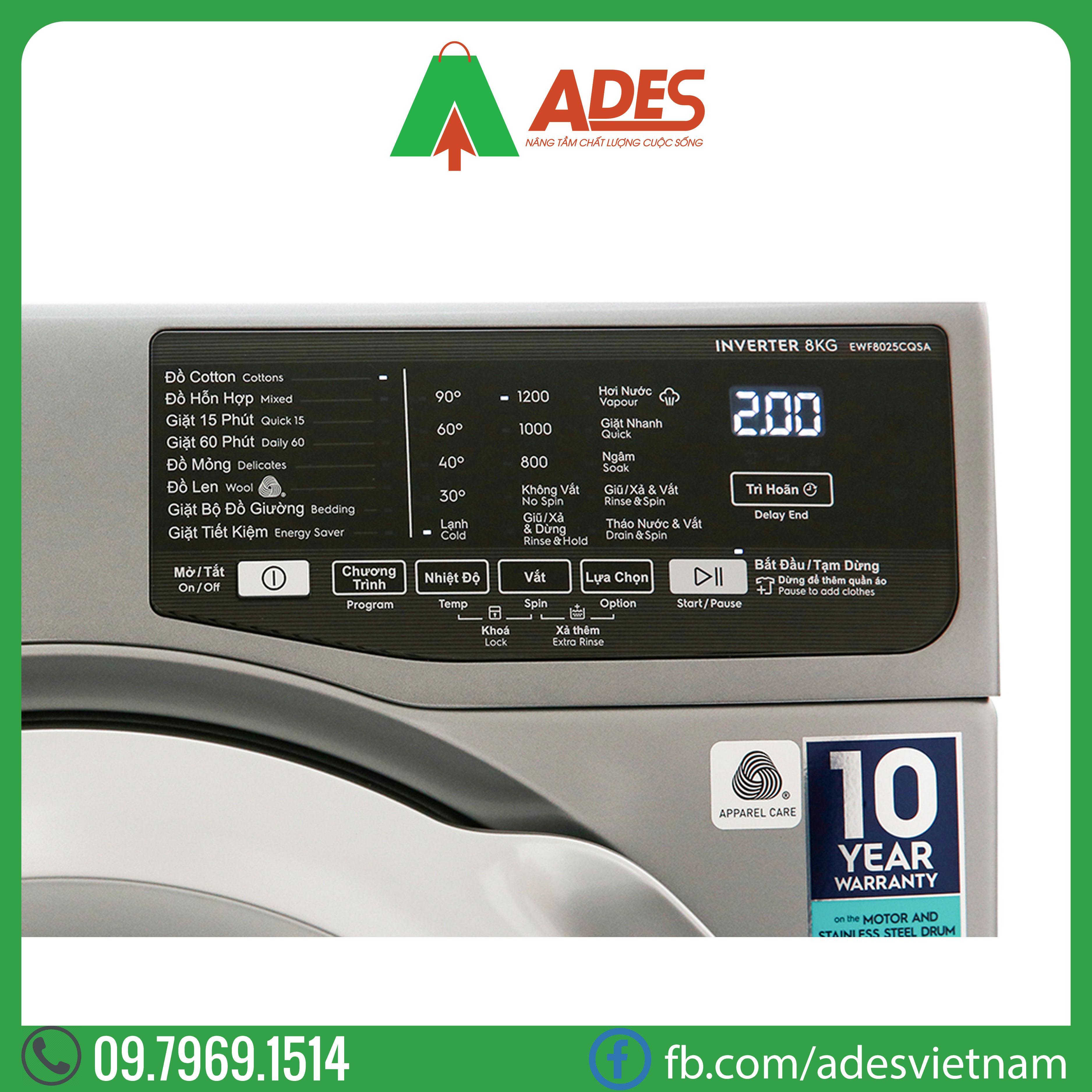 May giat Electrolux Inverter 9 Kg EWF9025BQSA