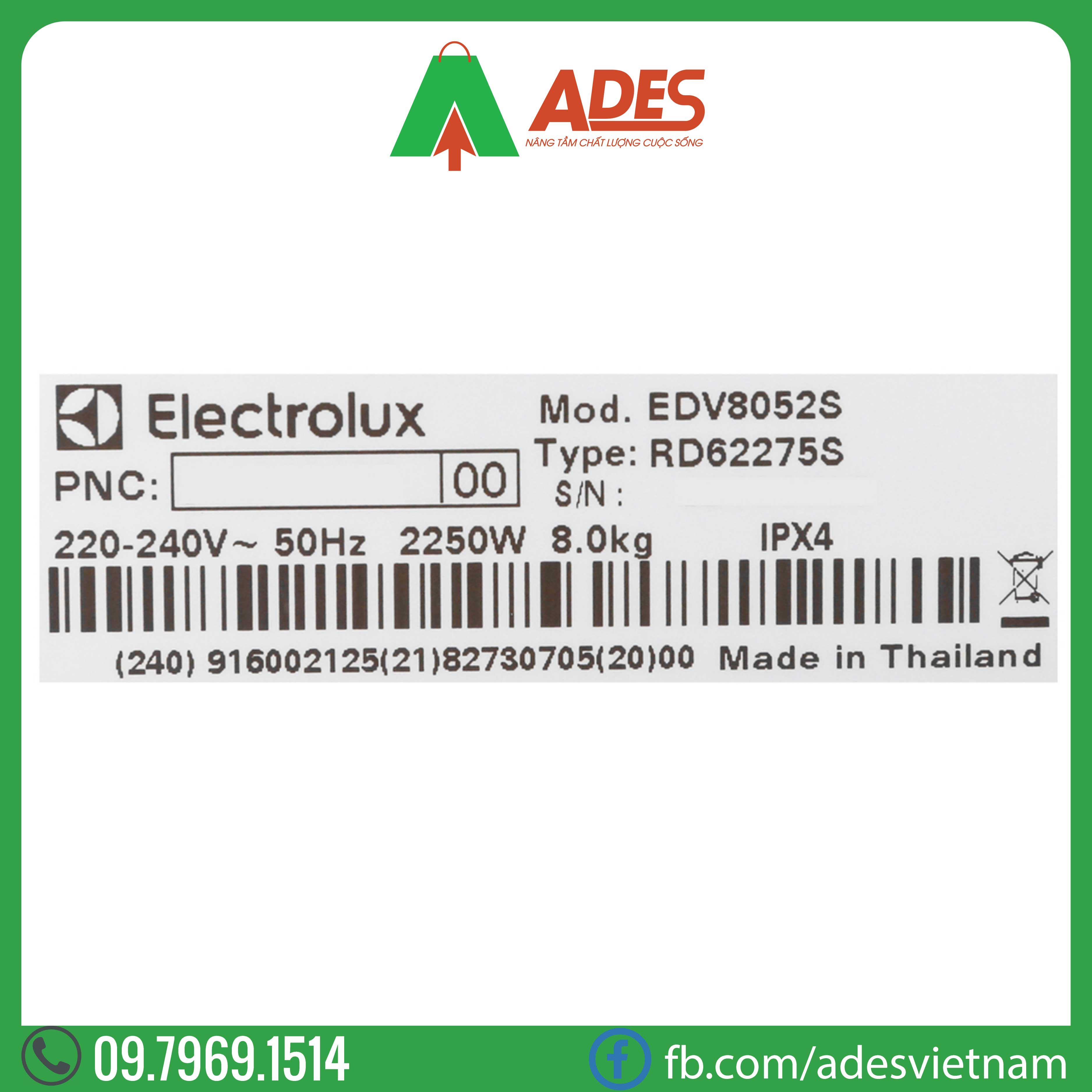 May say quan ao Electrolux 8 Kg EDV8052S