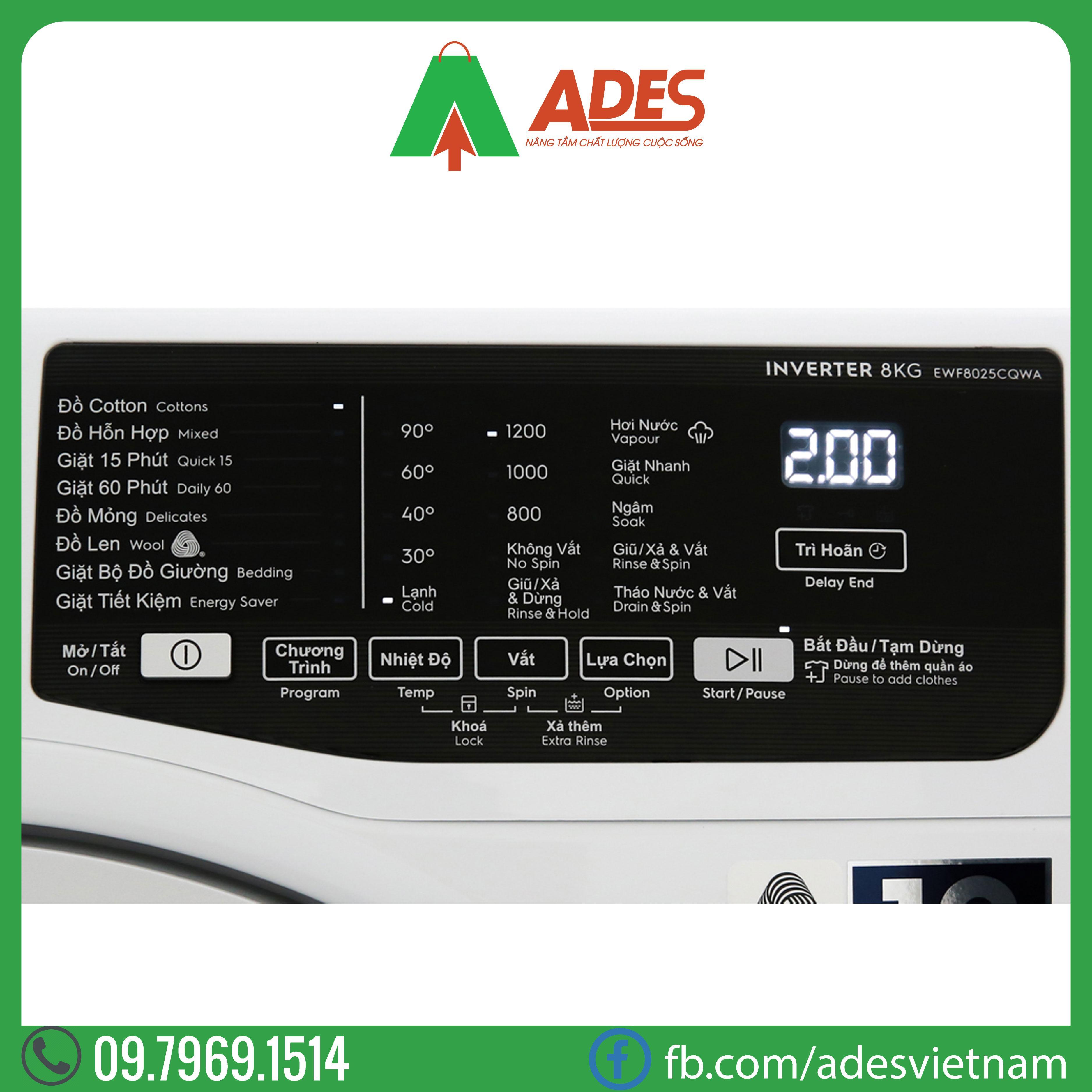 May giat Electrolux Inverter 9 kg EWF9025BQWA