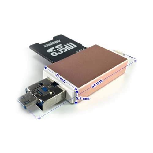 Đầu đọc thẻ nhớ Adapter OTG MPK-OTG-FIVE dùng cho iOS - Android - PC- Macbook