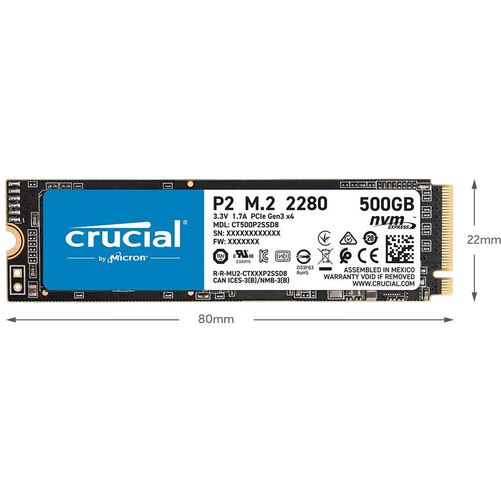 SSD Crucial P2 250GB NVMe 3D-NAND M.2 PCIe Gen3 x4 CT250P2SSD8