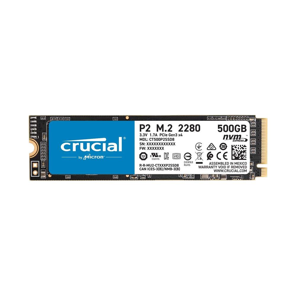 SSD Crucial P2 500GB NVMe 3D-NAND M.2 PCIe Gen3 x4 CT500P2SSD8