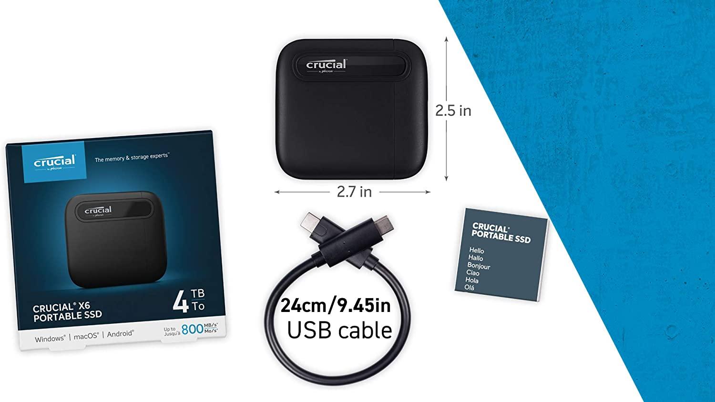 Ổ cứng di động 4TB External SSD Crucial X6 USB 3.2 Gen 2 Type-C CT4000X6SSD9