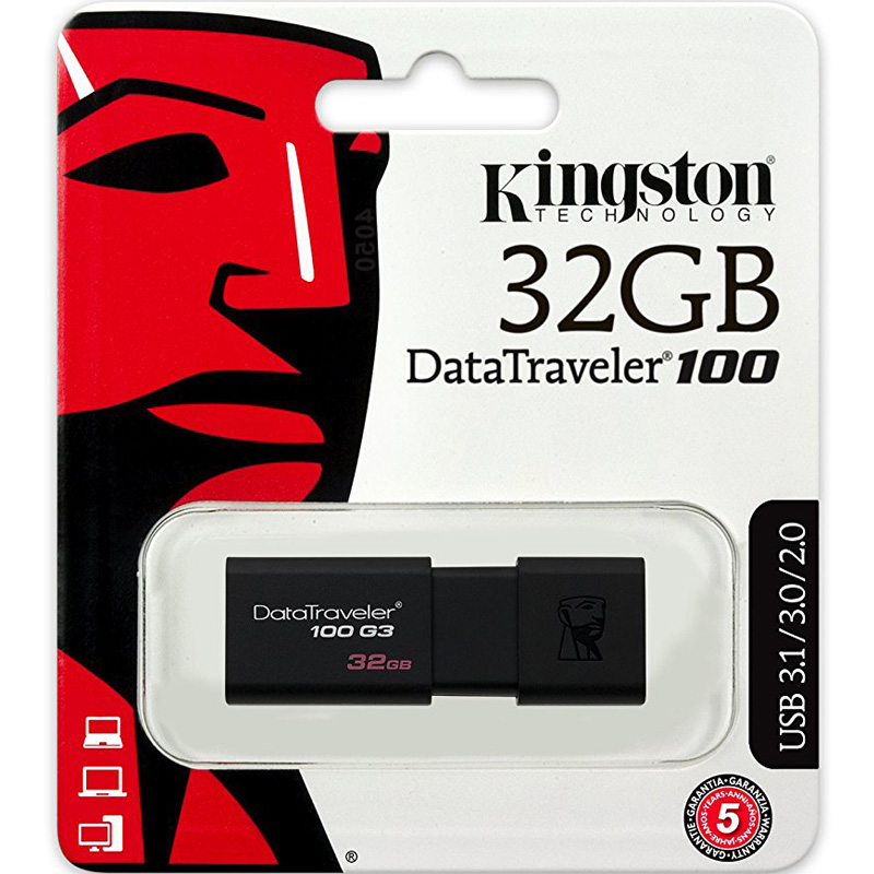 Combo USB 3.0 Kingston DataTraverler 100 G3 32GB 100MB/s DT100G3/32GB