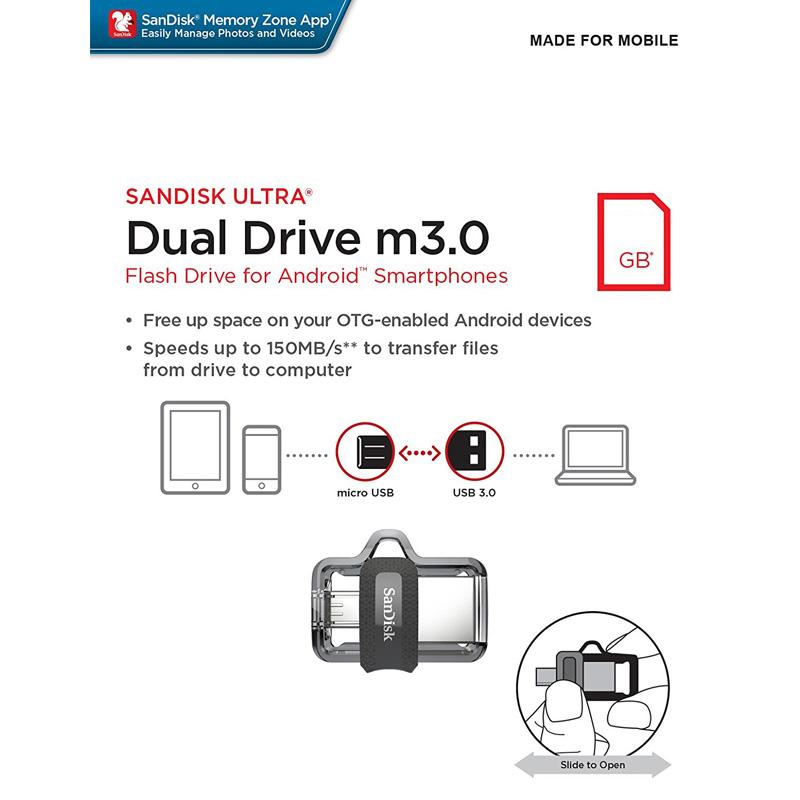 USB OTG 3.0 SanDisk Ultra Dual Drive M3.0 64GB SDDD3-064G-G46