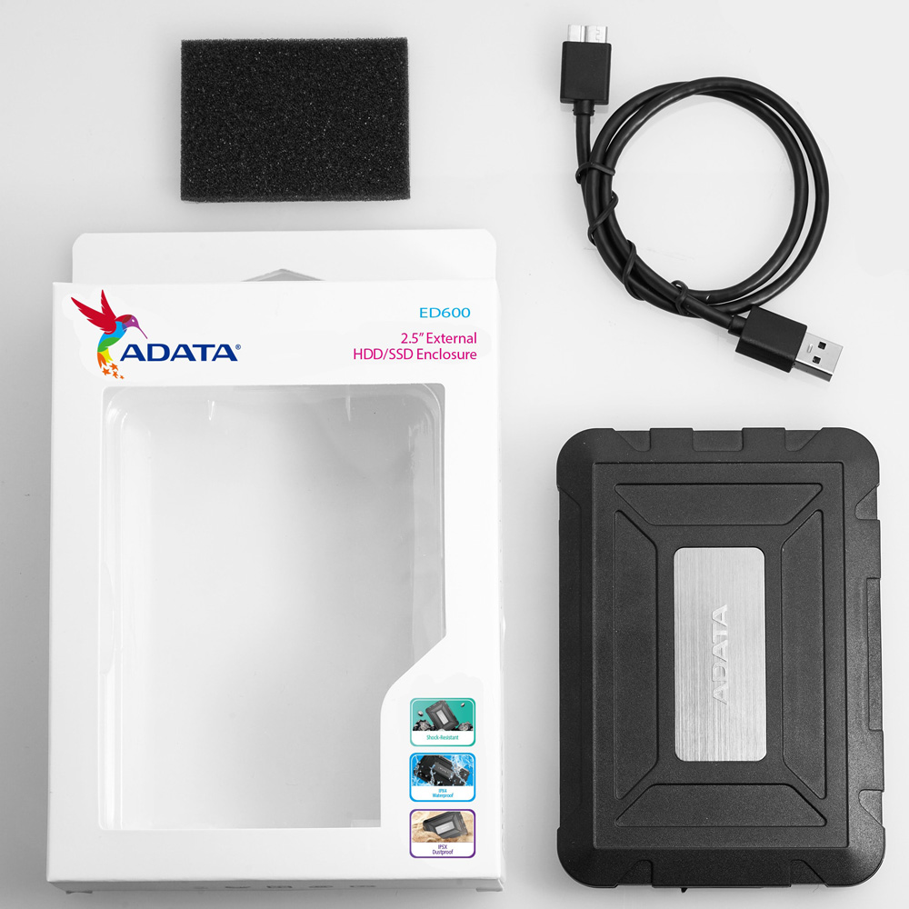 Box HDD SSD 2.5 inches USB 3.1 ADATA ED600 chống Sock AED600-U31-CBK