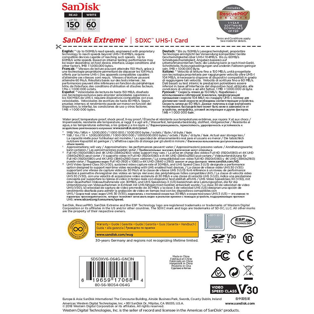 Thẻ nhớ SDXC SanDisk Extreme U3 V30 1000x 64GB 150MB/s SDSDXV6-064G-GNCIN