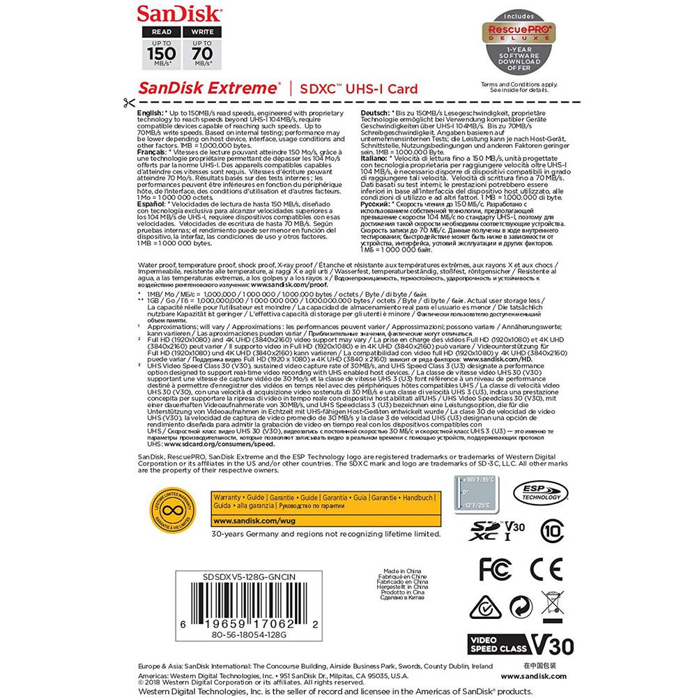 Thẻ nhớ SDXC SanDisk Extreme U3 V30 1000x 128GB 150MB/s SDSDXV5-128G-GNCIN