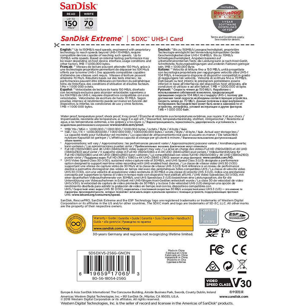 Thẻ nhớ SDXC SanDisk Extreme U3 V30 1000x 256GB 150MB/s SDSDXV5-256G-GNCIN