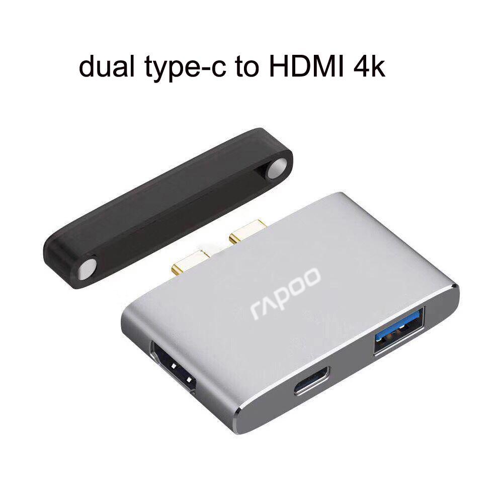 Bộ chia USB Type-C Rapoo 3-in-1 ra HDMI - USB 3.0 - USB Type-C XD20M