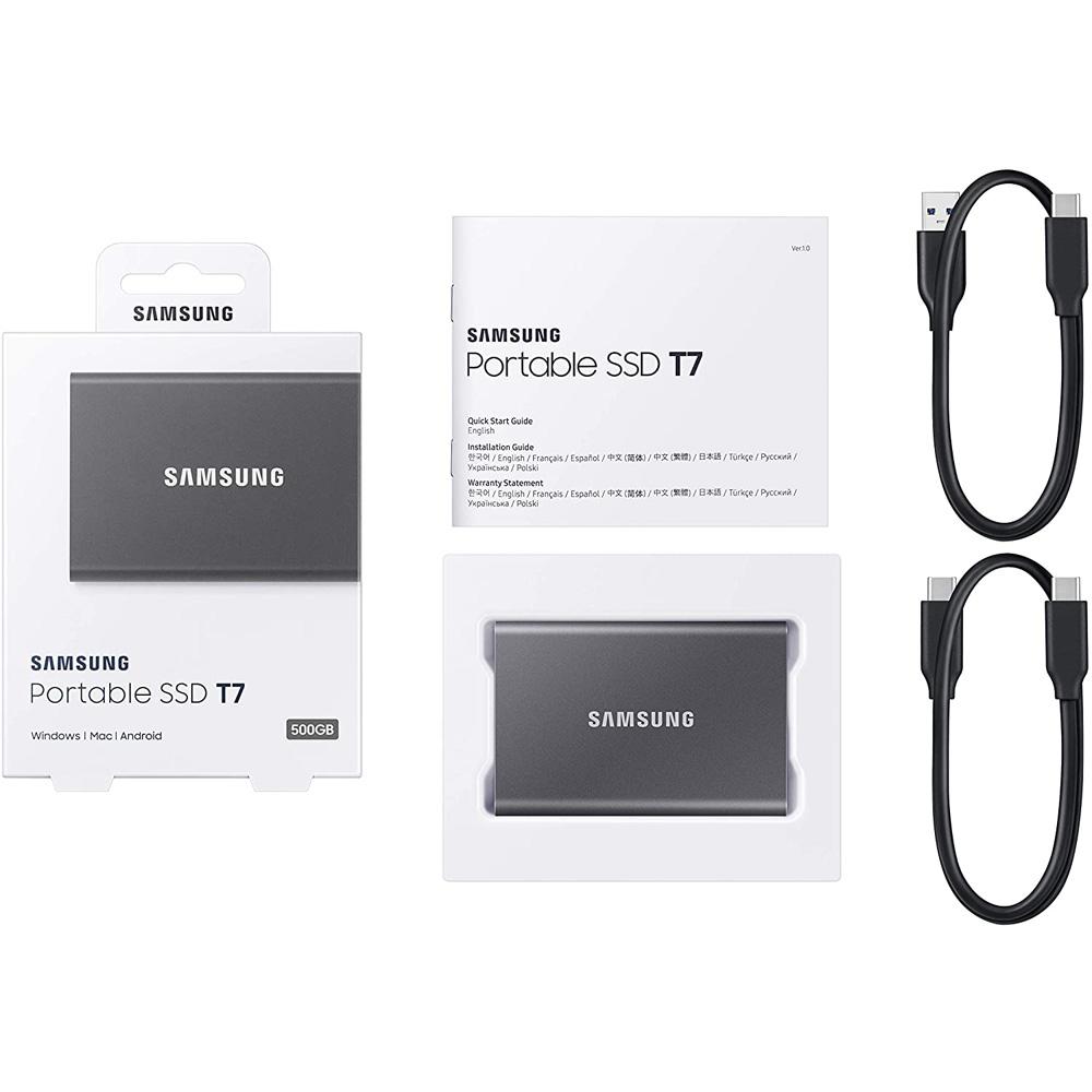 Ổ cứng di động 500GB External SSD Samsung T7 USB 3.2 Gen 2 MU-PC500