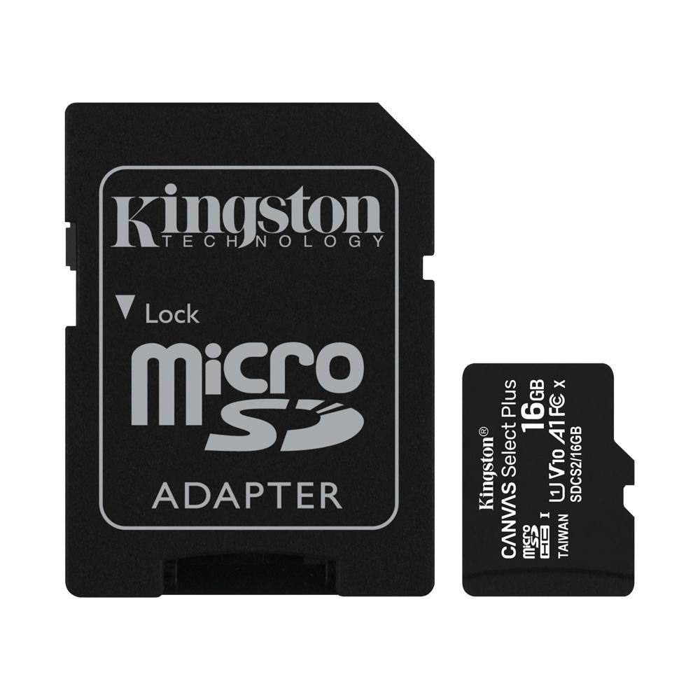 Combo Thẻ Nhớ MicroSDHC Kingston Canvas Select Plus 16GB Class 10 U1 100MB/s SDCS2/16GB (Kèm Adapter)