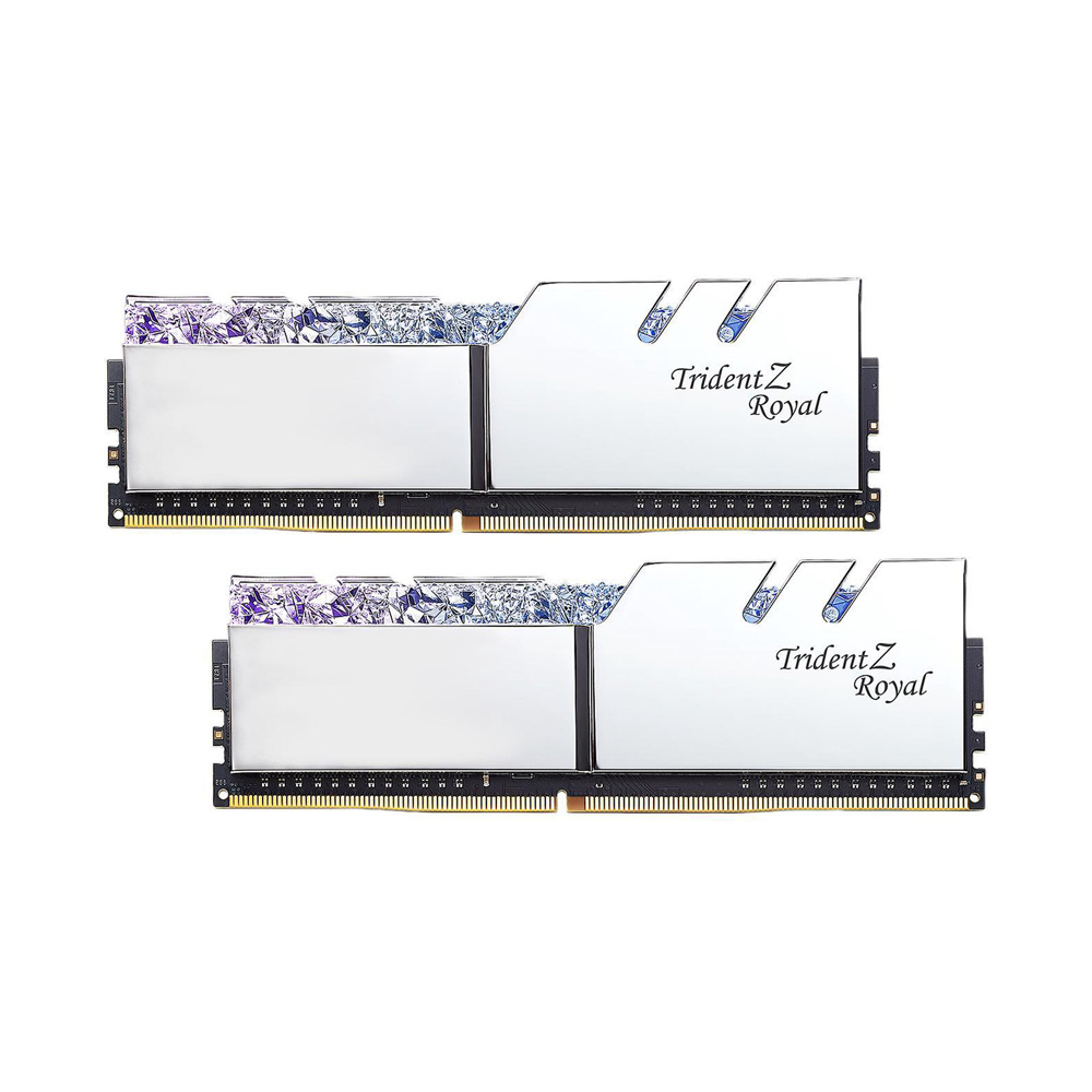 Ram PC G.SKILL Trident Z Royal Series 32GB RGB DDR4 Bus 3000 CL16 XMP Silver (Kit 16GB x 2) F4-3000C16D-32GTRS