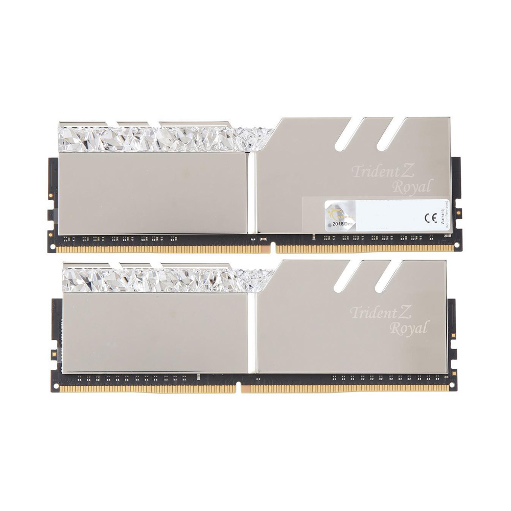 Ram PC G.SKILL Trident Z Royal Silver RGB 16GB 3200MHz DDR4 (8GBx2) F4-3200C16D-16GTRS