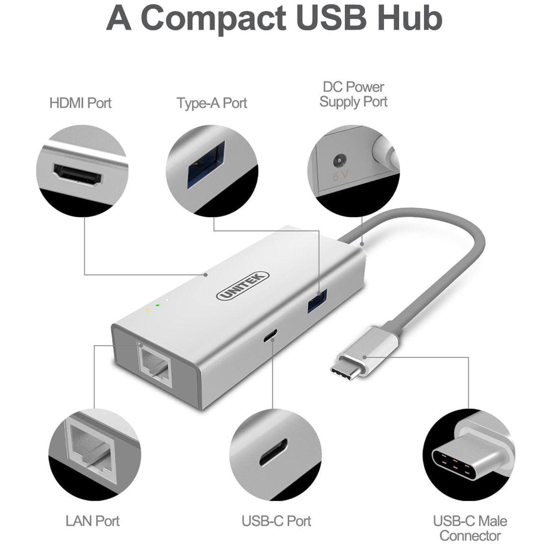 Bộ chia USB Type-C ra HDMI - USB 3.0 - USB Type-C - Lan Gigabit Unitek Y-9117