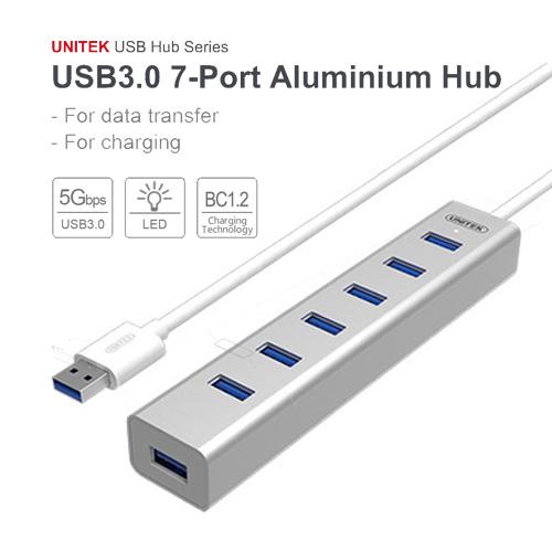 Bộ chia USB 7 cổng USB 3.0 Aluminium Unitek Y-3090