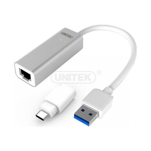 Cáp chuyển Gigabit Lan sang USB 3.0 Unitek Y-3464A Aluminium kèm Adaptor USB TypeC