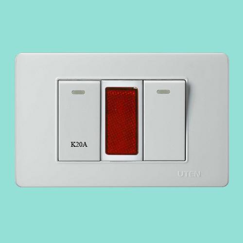 Công tắc 20A + Đèn báo + Công tắc đơn 1 chiều uten V3.0