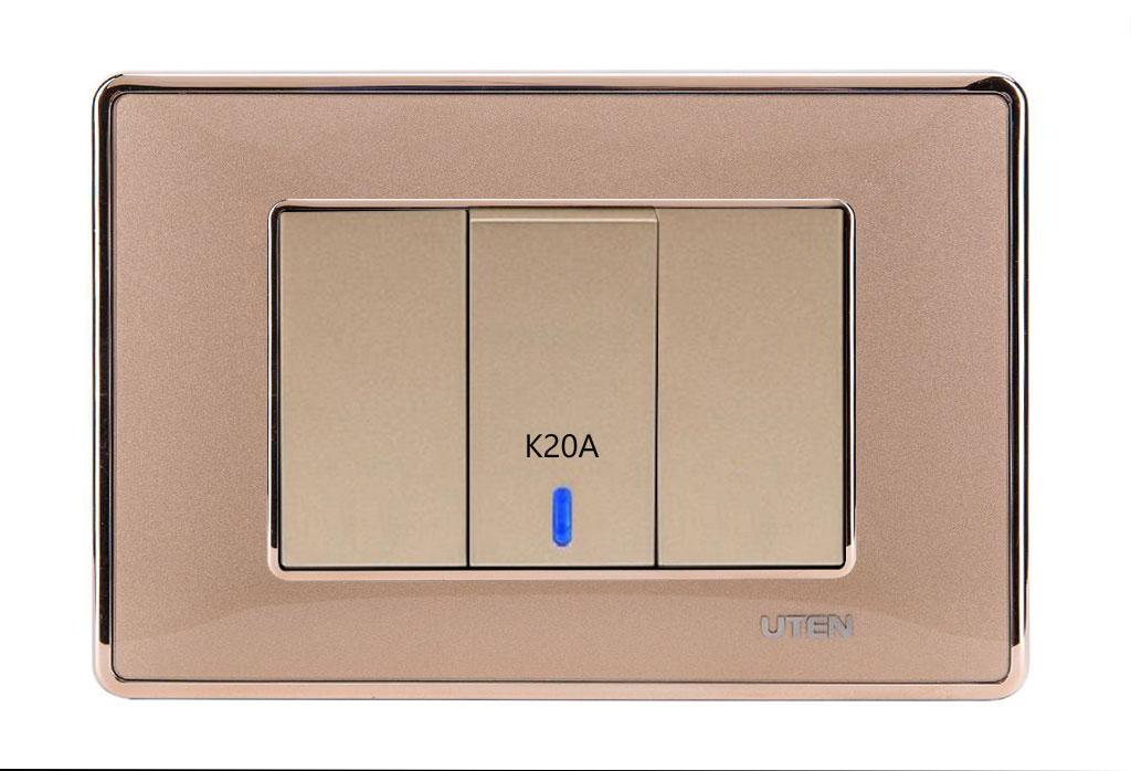 Bộ công tắc 20A có LED uten Q120 D Gold