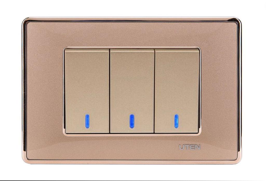 Bộ công tắc ba 2 chiều LED Q120 D Gold