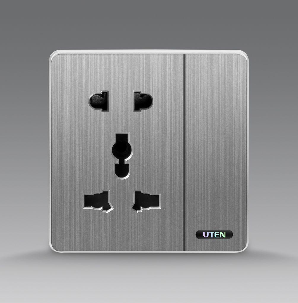 Bộ công tắc đơn 1 chiều kết hợp ổ cắm 5 chấu uten S300 GK11Z12Z13