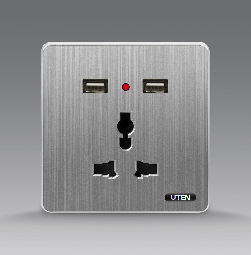 Bộ ổ cắm 3 chấu kết hợp ổ cắm USB uten S300 GZ13/2NU