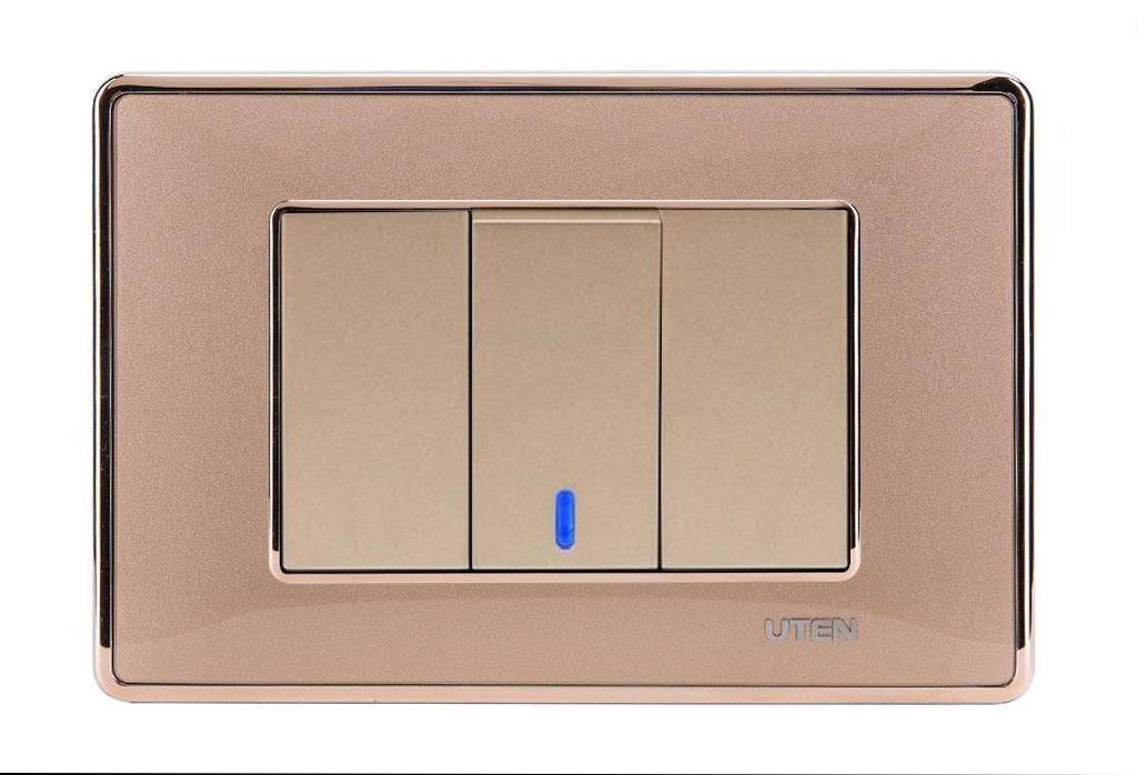 Bộ công tắc đơn 2 chiều LED Q120 D Gold