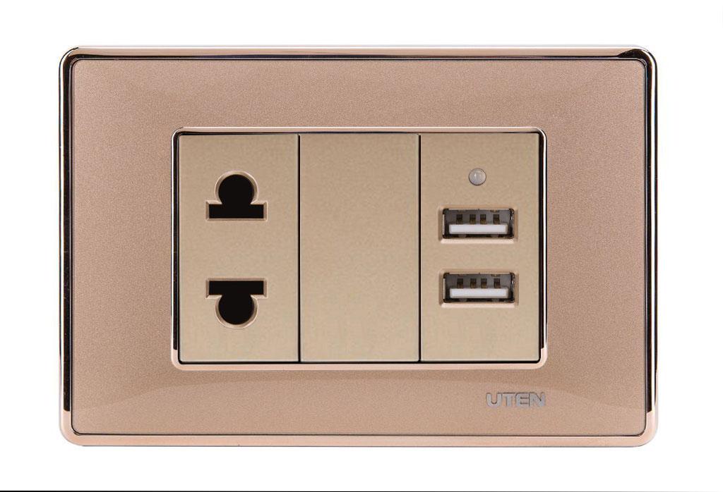 Bộ ổ cắm USB và 2 chấu uten Q120D Gold viền trơn