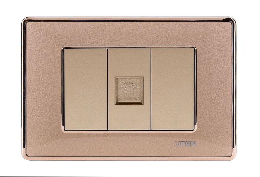 Bộ ổ cắm đơn điện thoại uten Q120D Gold viền trơn
