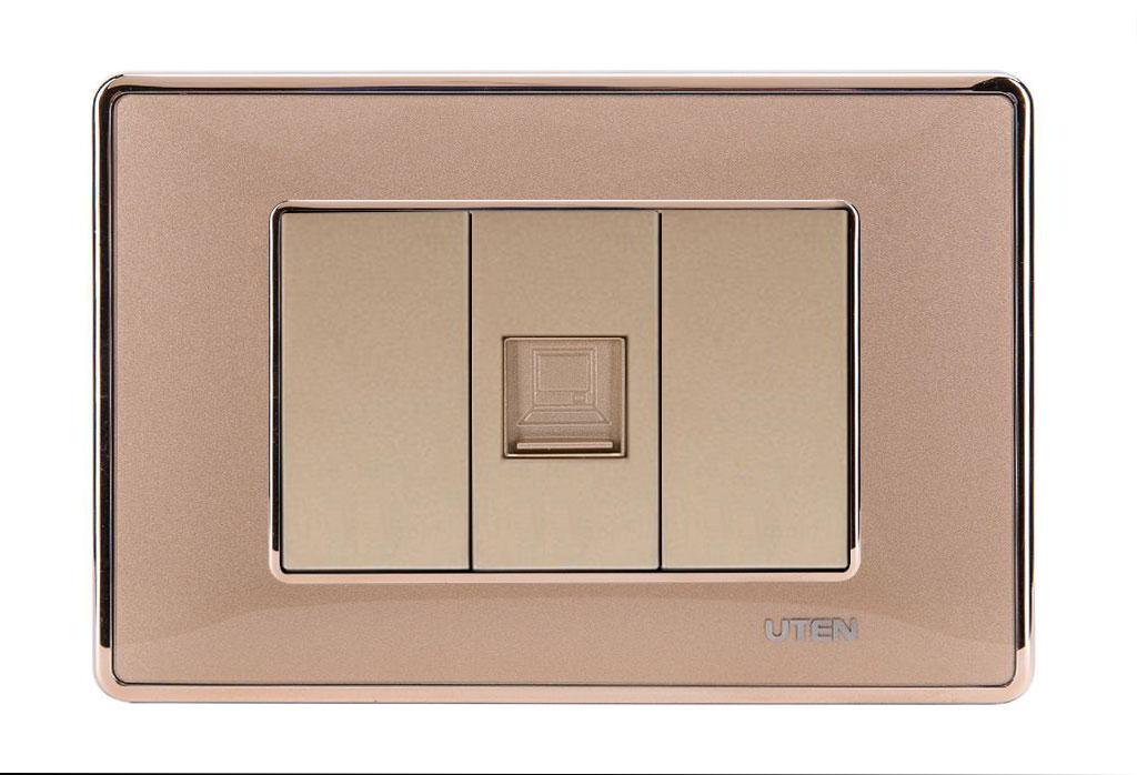 Bộ ổ cắm đơn mạng uten Q120D Gold viền trơn