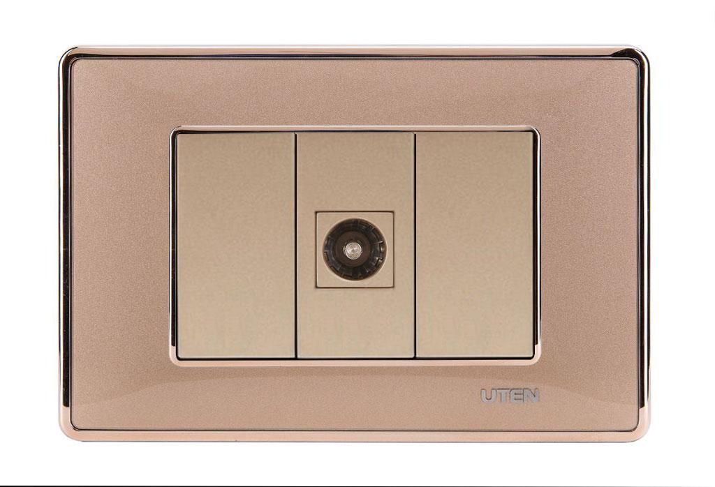 Bộ ổ cắm đơn tivi uten Q120D Gold viền trơn