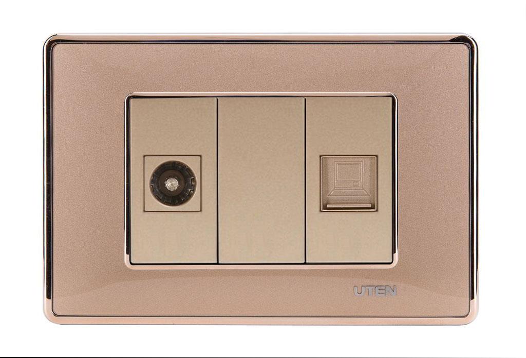 Bộ ổ cắm tivi mạng uten Q120D Gold viền trơn