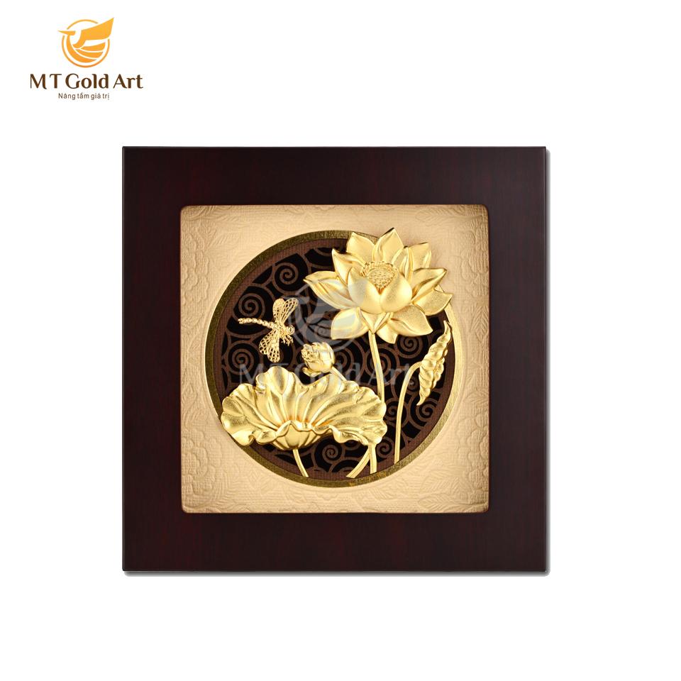Tranh hoa sen chuồn chuồn dát vàng 20x20