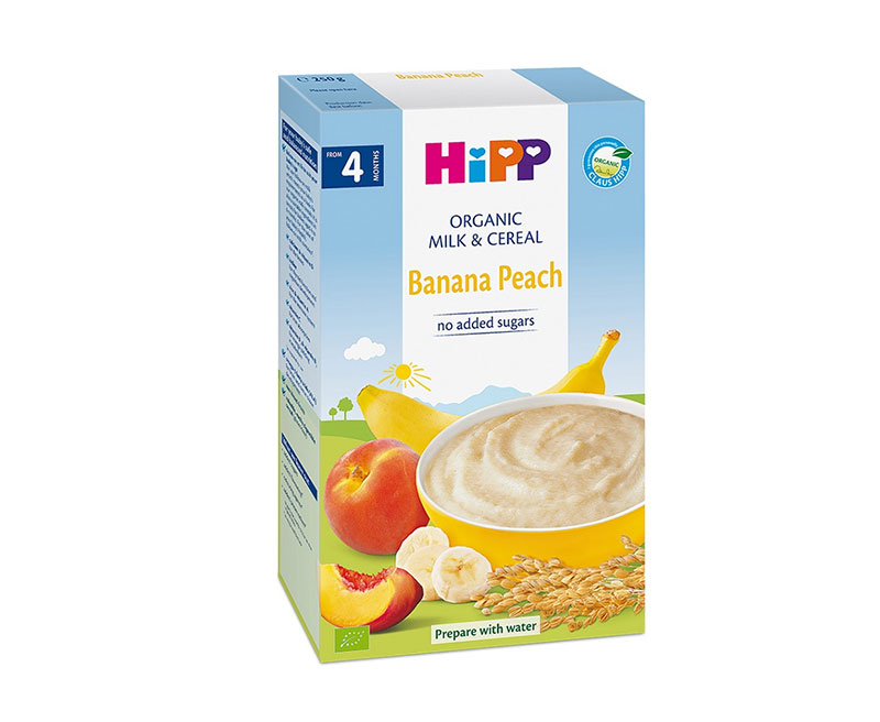 Bột ăn dặm Hipp sữa chuối đào 250g