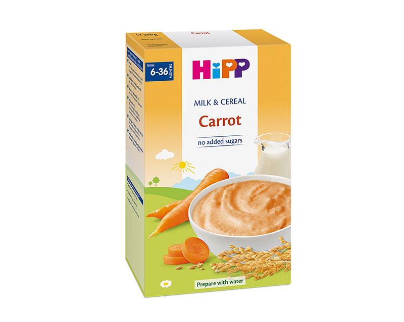 Bột ăn dặm Hipp sữa và rau củ cà rốt 250g