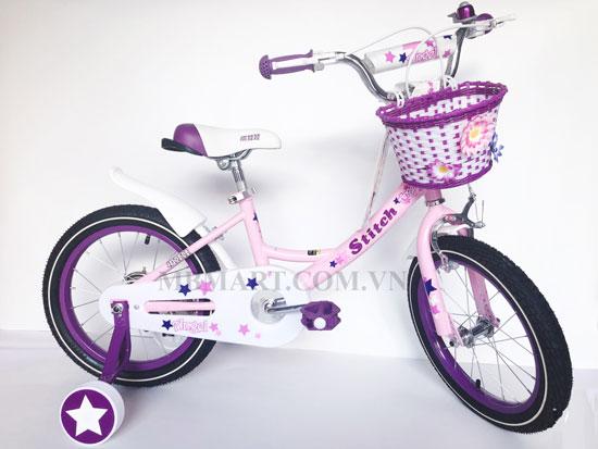xe đạp cho bé gái stitch 909 Màu tím hồng nữ tính