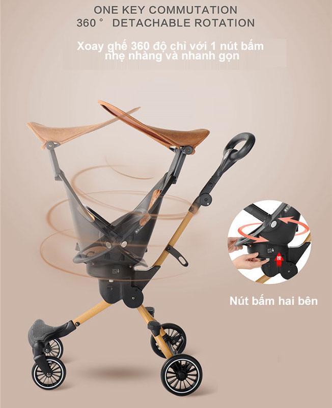 Ghế ngồi của xe đẩy baobaohao V5-B thiết kế giống với mẫu V5