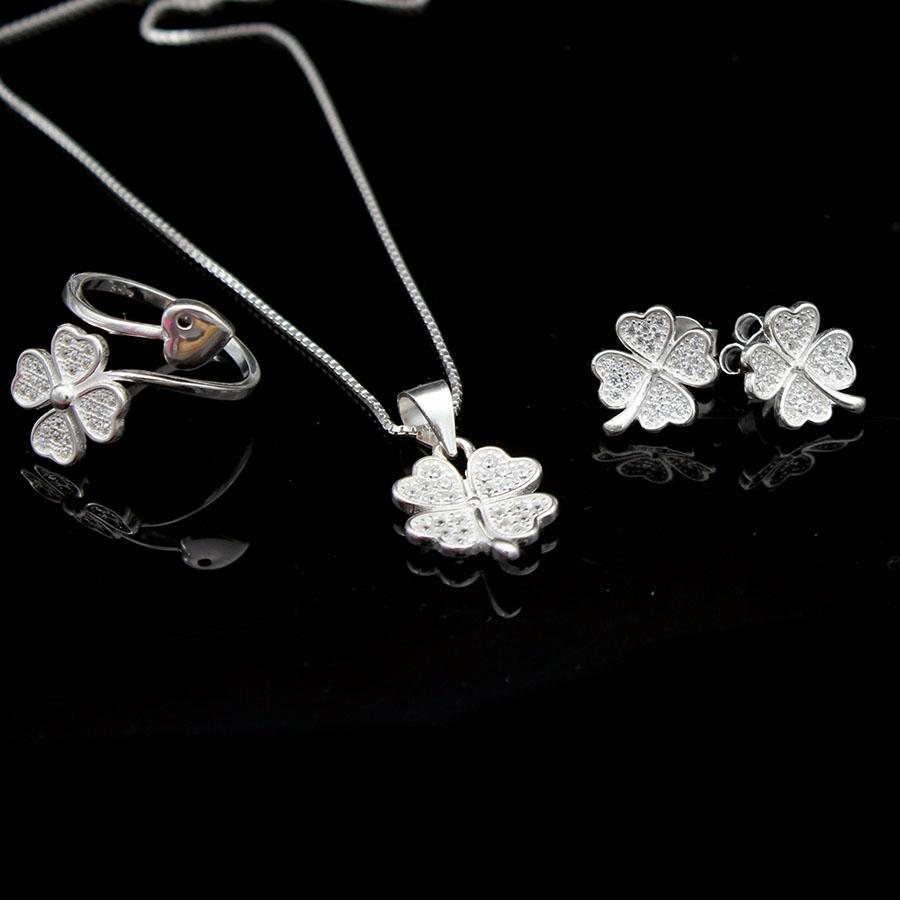 bộ trang sức dây chuyền hoa tai và nhẫn dmd071p cỏ 4 lá