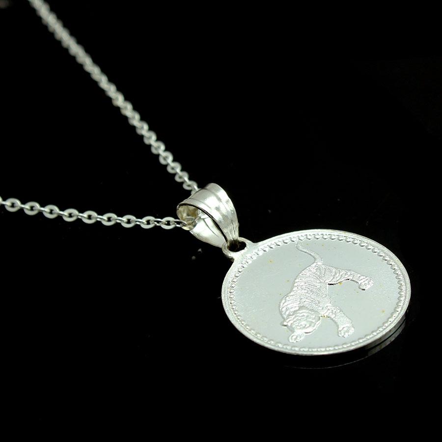 Dây chuyền và mặt dây chuyền trẻ em bằng bạc ta BẠC HIỂU MINH dte008 tuổi dần