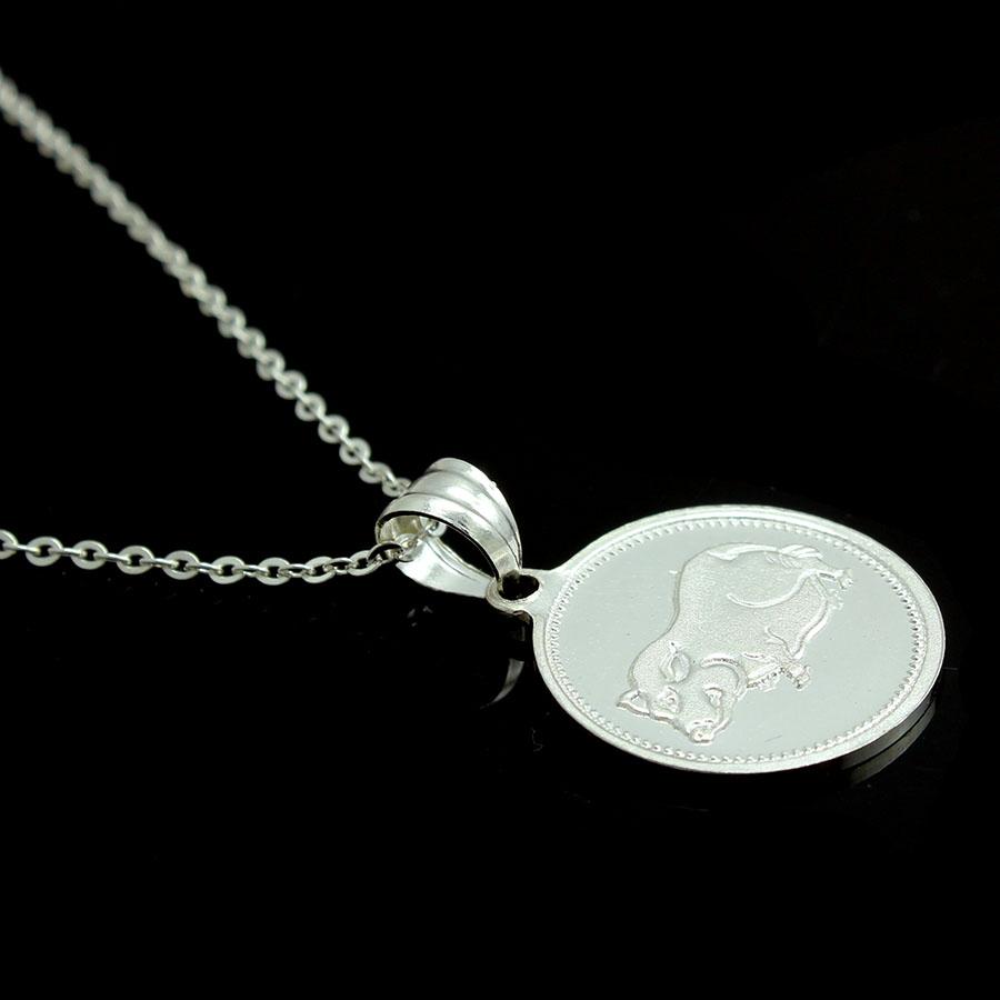 Dây chuyền và mặt dây chuyền trẻ em bằng bạc ta BẠC HIỂU MINH dte010 tuổi hợi