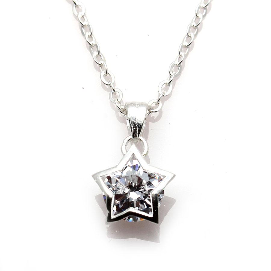 dây và mặt dây chuyền bạc ý dmd110 ngôi sao may mắn