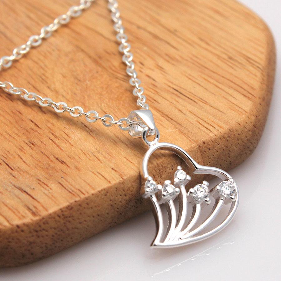 dây và mặt dây chuyền bạc ý dmd112 trái tim