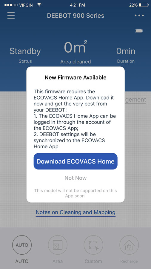 update firmware ecovacs home app