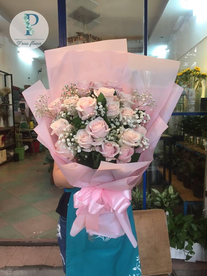 Hoa 14 - bó hồng kem