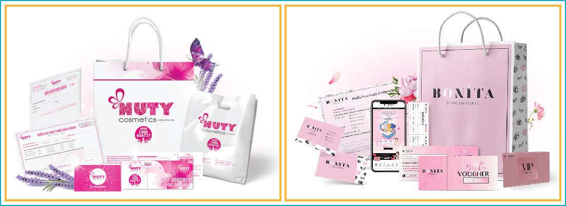 thiết kế túi xách giấy đựng mỹ phẩm đẹp