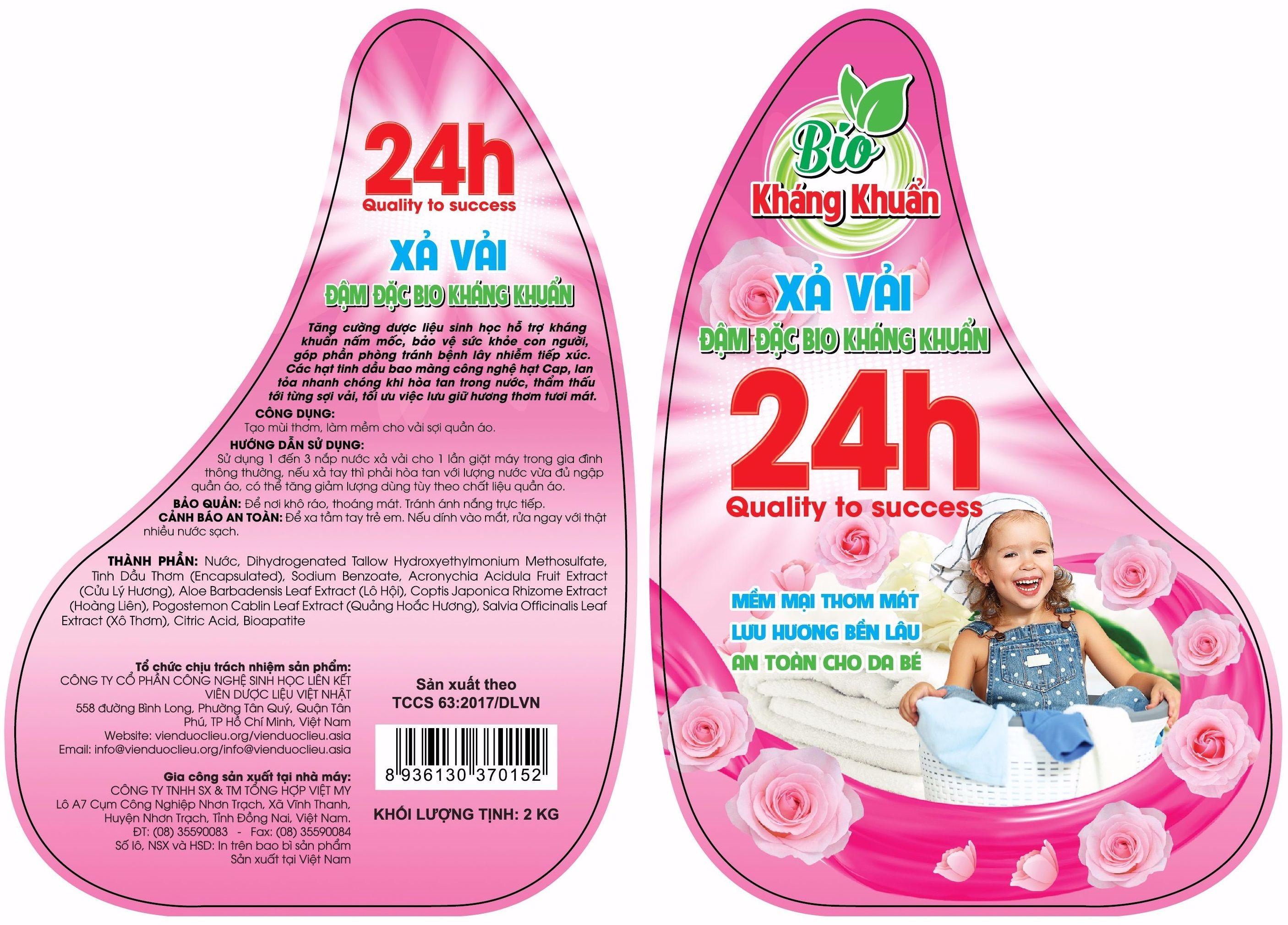 Nhãn decal nhựa dán trên sản phẩm nước xả vải