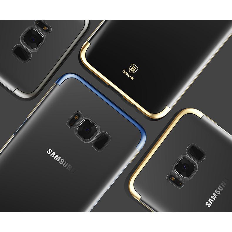 Ốp cứng trong suốt viền xi hiệu Baseus Galaxy S8