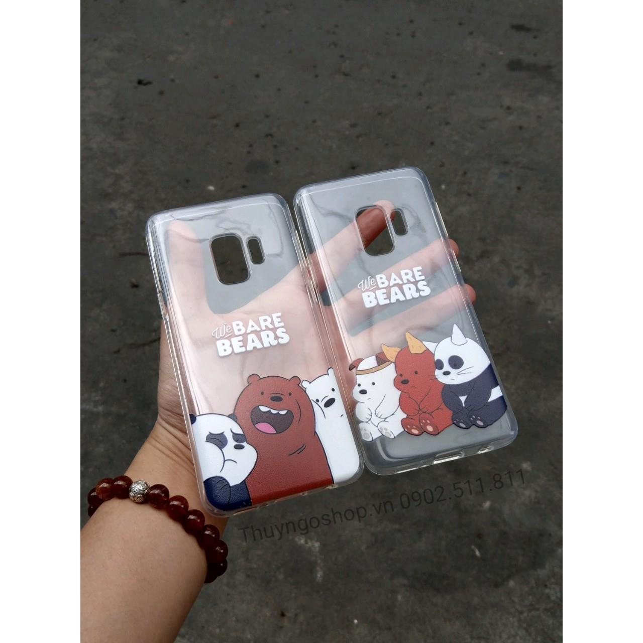 Ốp lưng silicon in hình 3 chú gấu Samsung S9